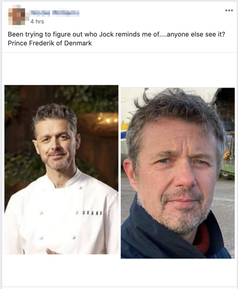 """A Facebook user shared a photo of the pair and wrote, """"Been trying to figure out who Jock reminds me of....anyone else see it? Prince Frederik of Denmark."""" Photo: Facebook"""