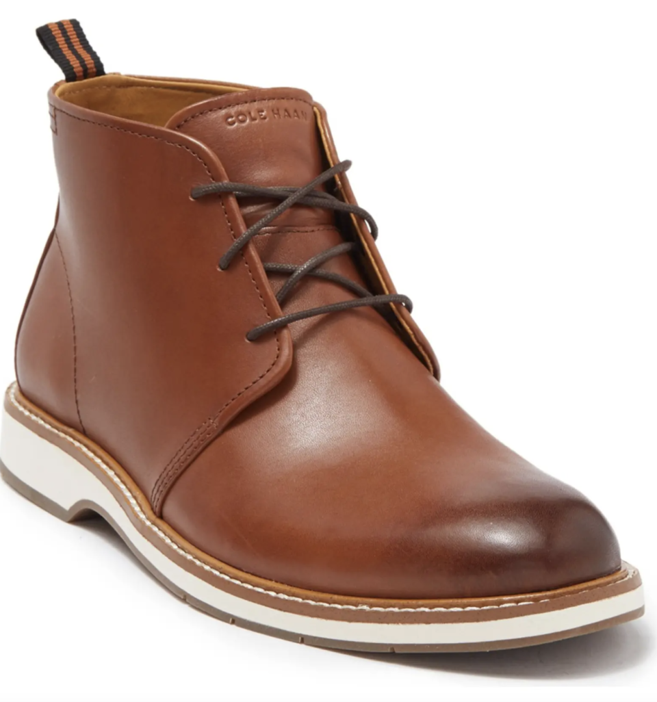 brown leather Cole Haan Morris Chukka Boots with white sole