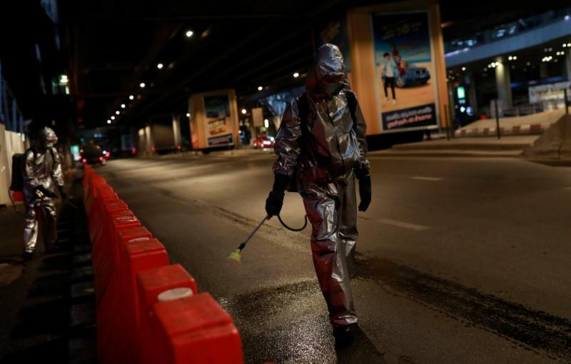 Royal Thai Army soldiers sanitize in the city due to the coronavirus disease (COVID-19) outbreak in Bangkok