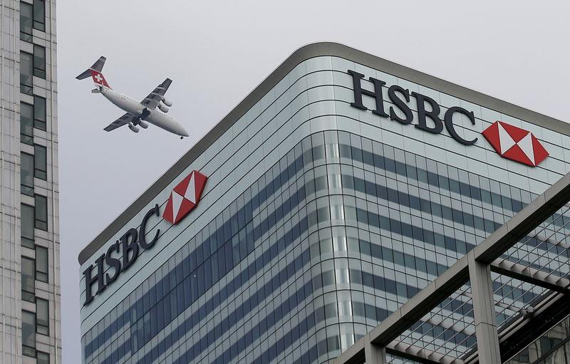 File photo of a Swiss International aircraft flying past the HSBC headquarters building in the Canary Wharf financial district in east London