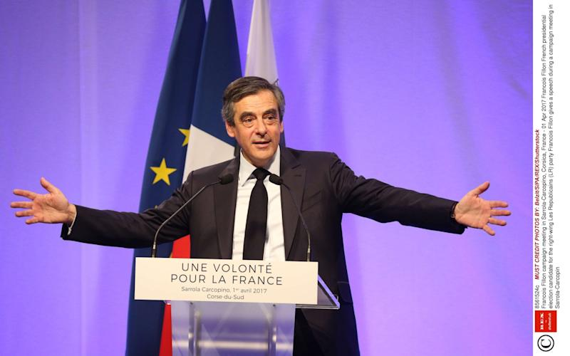 Francois Fillon campaign meeting in Sarrola-Carcopino, Corsica - Rex Features