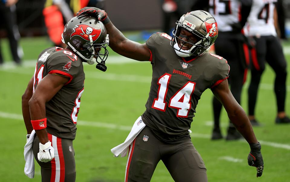 Antonio Brown (81) and Chris Godwin (14) are among the Buccaneers who can hit free agency. (Photo by Mike Ehrmann/Getty Images)