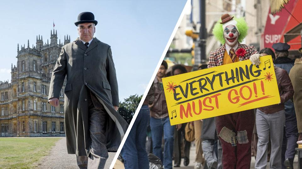 A composite image showing stills from Downton Abbey: The Movie (L) and Joker (R). (Universal Pictures/Warner Bros.)