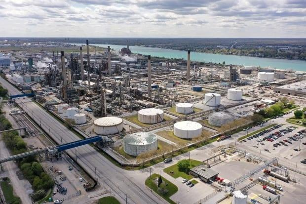 In Sarnia, Ont., thousands of jobs are directly and indirectly connected to Enbridge's Line 5, according to those fighting any sort of shutdown of the pipeline. Wednesday is the deadline given by Michigan for the Calgary-based company to close operations. (Sue Reid/CBC News - image credit)