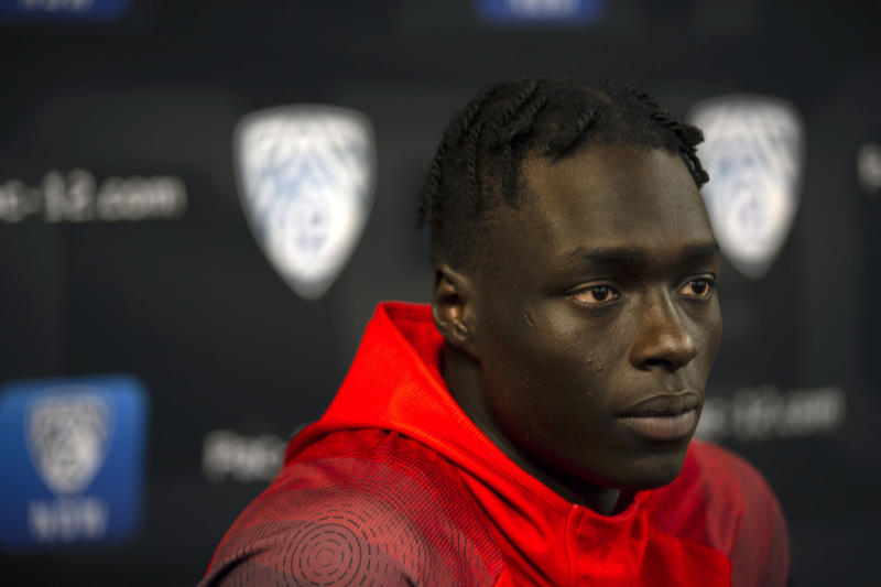 Utah's Both Gach speaks during the Pac-12 NCAA college basketball media day, in San Francisco, Tuesday, Oct. 8, 2019. (AP Photo/D. Ross Cameron)