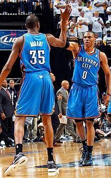 Kevin Durant and Russell Westbrook have kept in touch regularly during the offseason