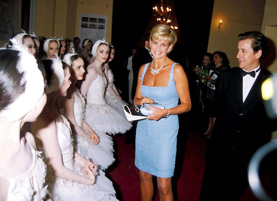 """<p>While the princess had a say in the design of the elegant necklace she wore to the Royal Opera House's production of Swan Lake in 1997, she died before becoming its owner and the matching earrings were completed. It has since been purchased by a private buyer and <a href=""""https://www.guernseys.com/Guernseys%20New/princess_diana.html"""" rel=""""nofollow noopener"""" target=""""_blank"""" data-ylk=""""slk:sold by New York auction house Gurnseys"""" class=""""link rapid-noclick-resp"""">sold by New York auction house Gurnseys</a> as recently as 2017. </p>"""