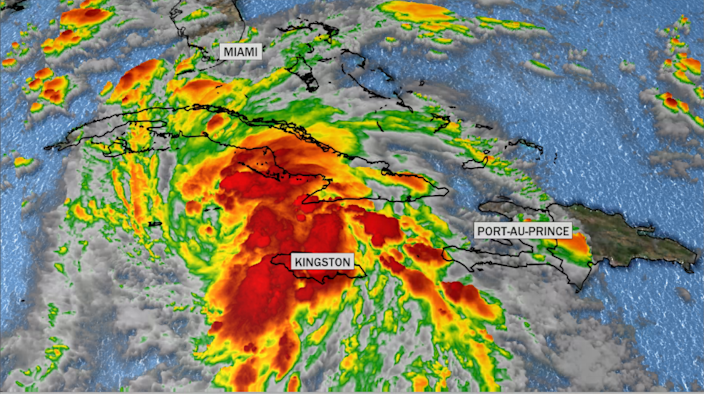 Satellite view of Ida over the Caribbean. / Credit: CBS News