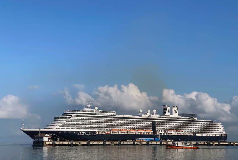 The cruise ship MS Westerdam at dock in the Cambodian port of Sihanoukville, Cambodia