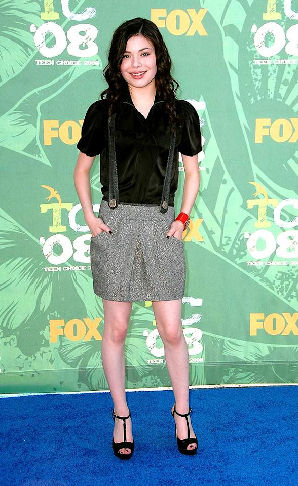 "Miranda Cosgrove, best known for her leading role in ""iCarly,"" actually made suspenders super cool when she paired them with the perfect gray skirt. Steve Granitz/<a href=""http://www.wireimage.com"" target=""new"">WireImage.com</a> - August 3, 2008"