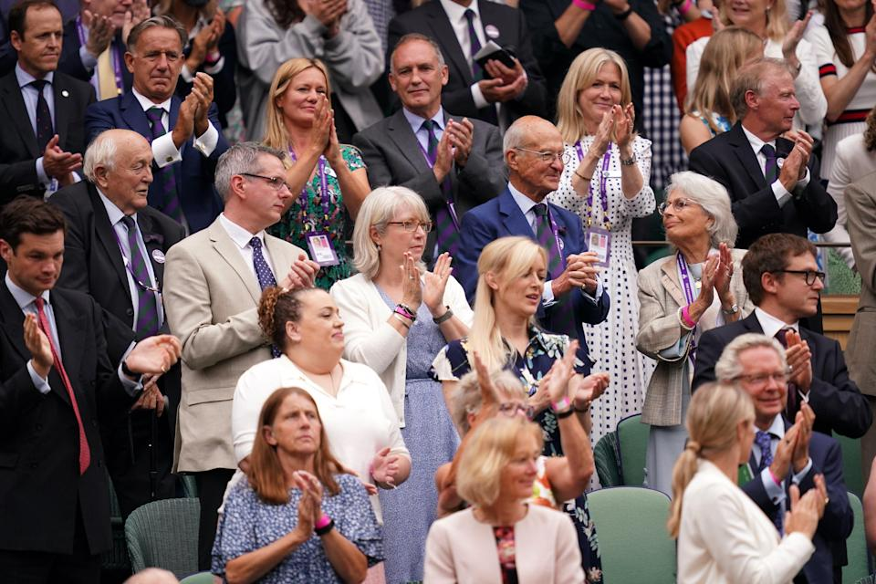 A view of guests in the Royal Box at Centre Court on day one of Wimbledon (PA Wire)