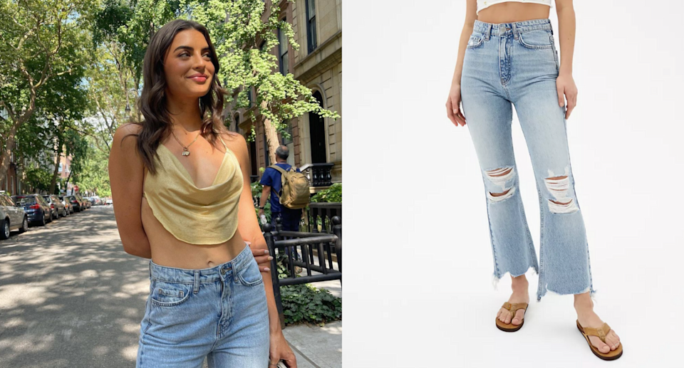 Rachael Kirkconnell tapped into her inner Y2K child in these $69 jeans (Photos via Rachael Kirkconnell/Instagram and Urban Outfitters)