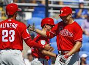Feb 28, 2019; Dunedin, FL, USA; Philadelphia Phillies right fielder Dylan Cozens (25) celebrates with Philadelphia Phillies left fielder Aaron Altherr (23) after hitting a three run homer during the first inning of a spring training baseball game against the Toronto Blue Jays at Dunedin Stadium. Mandatory Credit: Butch Dill-USA TODAY Sports
