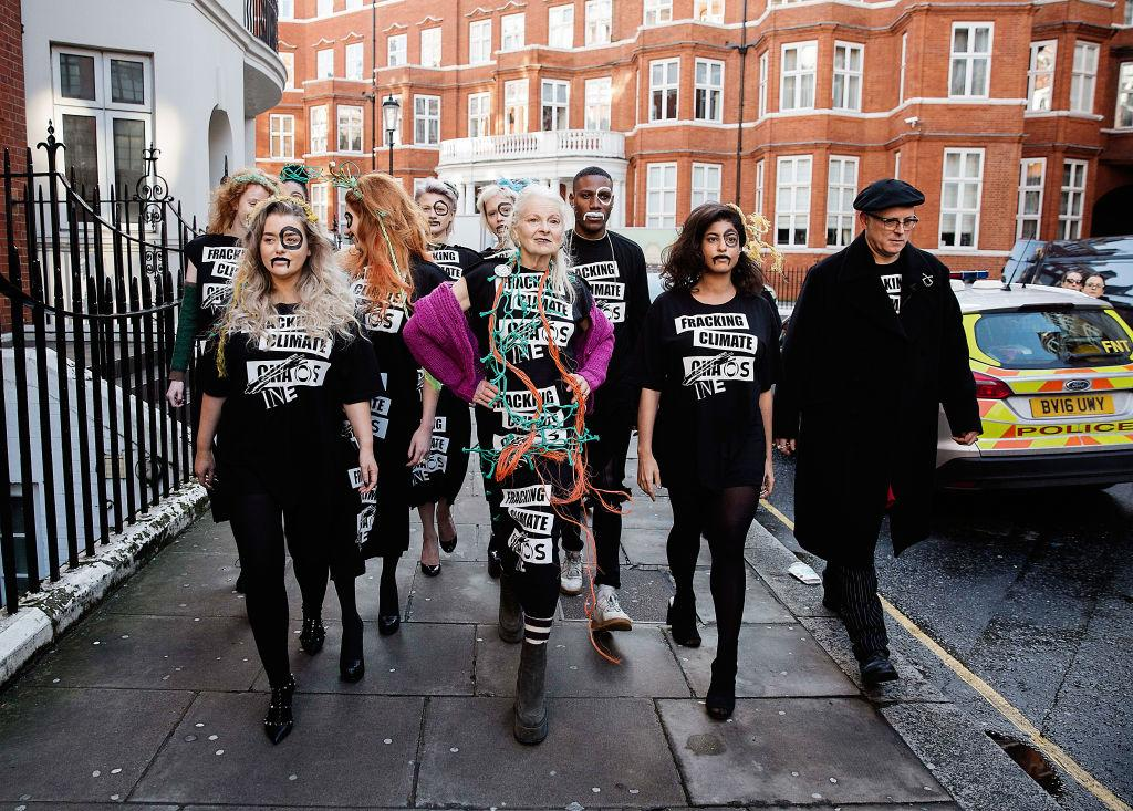 <p>During a pop-up protest catwalk, Vivienne Westwood and a crew of activists and models protest the fracking chemical plant, Ineos in Knightsbridge, London. (Photo: Getty) </p>