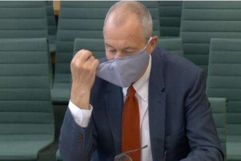Sir Patrick shed his face mask at the start of the session, once he'd established the members were sat safely 2m from each other (Parliament TV)