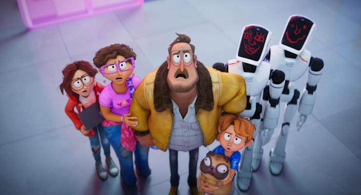 Animation of a family of four, their bug-eyed dog and two robots standing in a group and looking skyward.