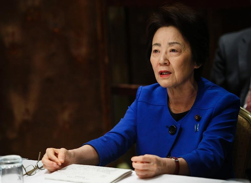 Japanese minister Eriko Yamatani speaks during an interview with AFP in New York, on May 5, 2015 (AFP Photo/Eduardo Munoz Alvarez)