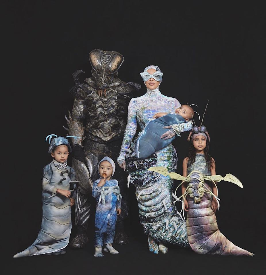 The whole Kardashian-West crew literally bugged out in insect-inspired family getups. Kim posted photos of the intricate costumes, which include larvae and tons of antennae. The reality star also revealed on Instagram that her costume glowed while Kanye's costume moved thanks to animatronics.