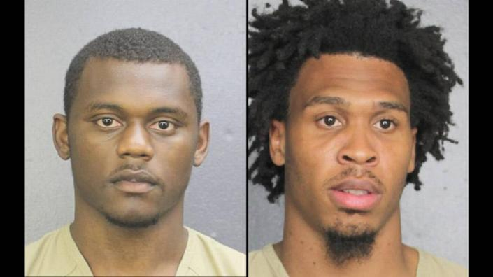 New York Giants player Deandre Baker, left, and Seattle Seahawks player Quinton Dunbar turned themselves into the Broward County Jail after Miramar police sought their arrest on robbery charges.