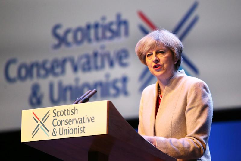 Theresa May spoke at the Scottish Conservative conference: PA