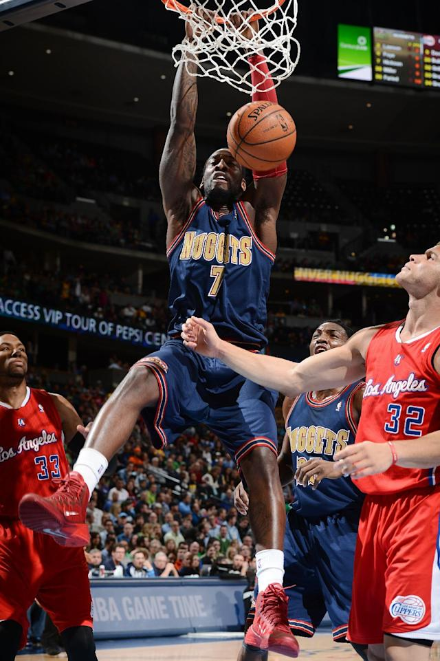 DENVER, CO - MARCH 17: J.J. Hickson #7 of the Denver Nuggets dunks the ball against the Los Angeles Clippers on March 17, 2014 at the Pepsi Center in Denver, Colorado. (Photo by Garrett W. Ellwood/NBAE via Getty Images)