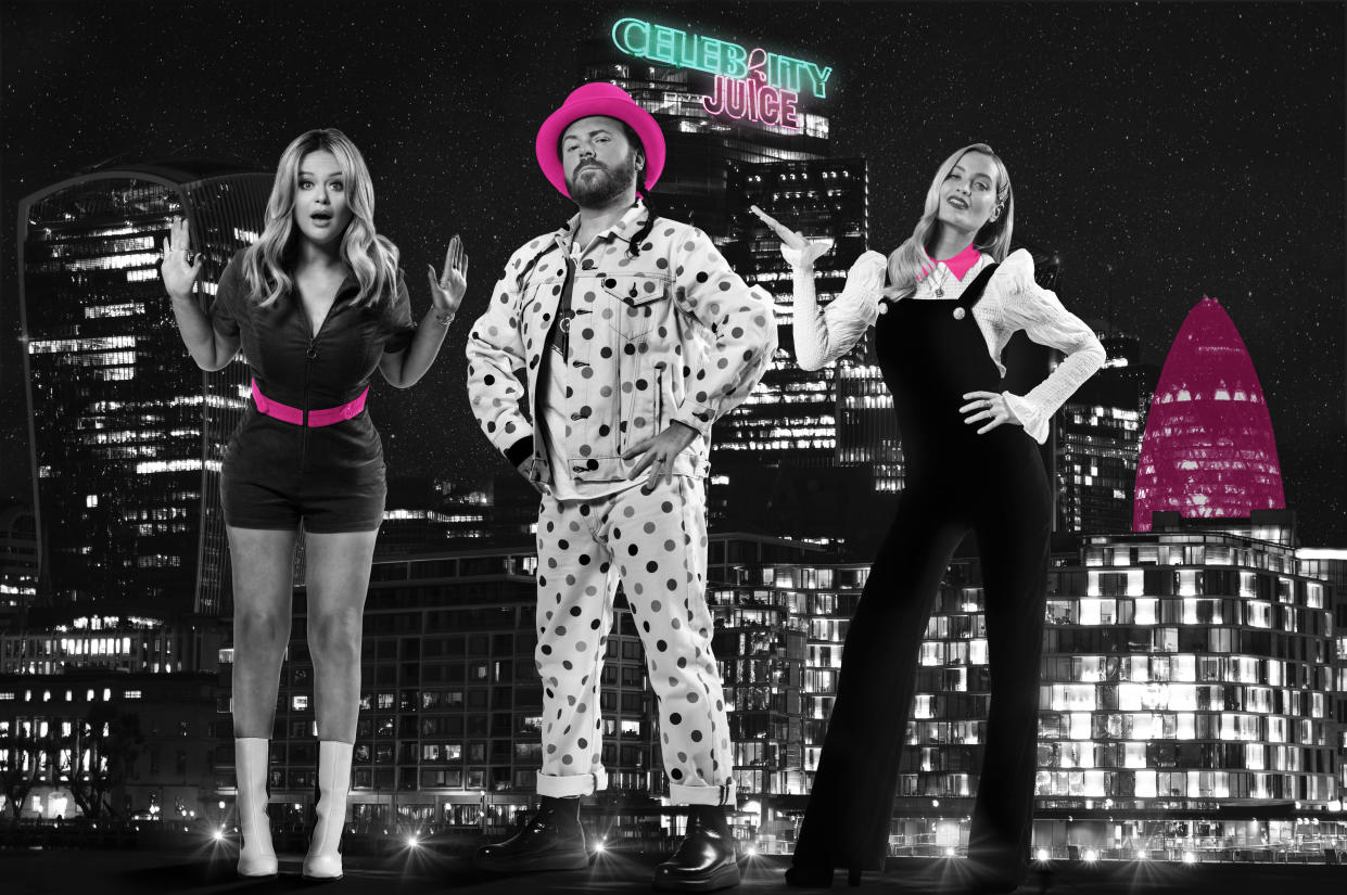 Celebrity Juice host Keith Lemon is joined by team captains Emily Atack and Laura Whitmore (ITV2).