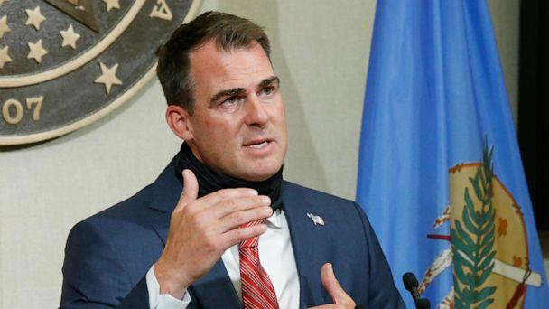 PHOTO: Oklahoma Gov. Kevin Stitt gestures as he speaks during a news conference, June 30, 2020, in Oklahoma City. (Sue Ogrocki/AP Photo)
