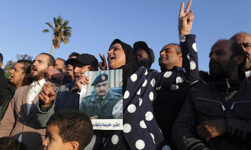 Supporters of the eastern strongman Khalifa Haftar.