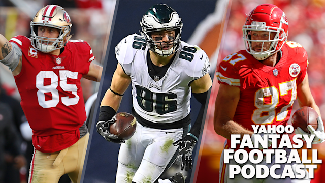 Liz Loza and Matt Harmon discuss the limited field of fantasy TEs after the initial tier of George Kittle, Zach Ertz and Travis Kelce. (Photos L to R by Nhat V. Meyer/Digital First Media/The Mercury News via Getty Images; Stacy Revere/Getty Images; David Eulitt/Getty Images)