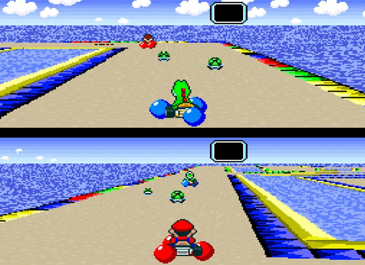 """<p><em>Super Nintendo, 1992</em> <b></b>It's hard to imagine a time when video game characters didn't hop into go-karts and race each other, but it was Mario & Co. who first discovered the need for speed. <a rel=""""nofollow"""" href=""""https://www.amazon.com/gp/product/B00002SVFR/ref=as_li_qf_sp_asin_il_tl?ie=UTF8&tag=entertain07-20&camp=1789&creative=9325&linkCode=as2&creativeASIN=B00002SVFR&linkId=733f582a1900f9446bad1d5c5097d110""""><i>Super Mario Kart</i></a> pushed the SNES' Mode 7 graphic effects to the limit, offering pseudo-3D racing in a 2D world (even if half the screen was taken up by a map). It birthed a new racing genre that would be followed by everyone from Pac-Man to Crash Bandicoot to Sonic the Hedgehog.<b>Introduced:</b> Everything. <i>Mario Kart</i> is a veritable road map for how it's done: Take a bevy of beloved characters, add various themed weapons and power-ups, and put them on tracks based on the series' world. <em>-Aaron Morales</em></p>"""