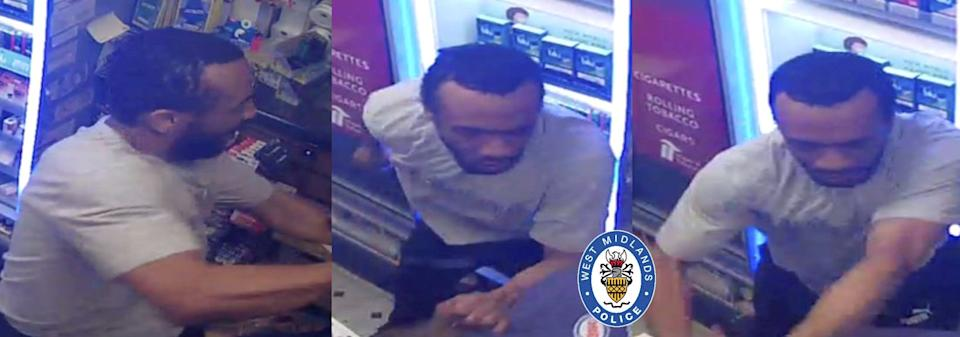 Appalling CCTV shows a vicious thug who tried to steal booze at knifepoint from a petrol station repeatedly punching a helpless cashier. (SWNS)
