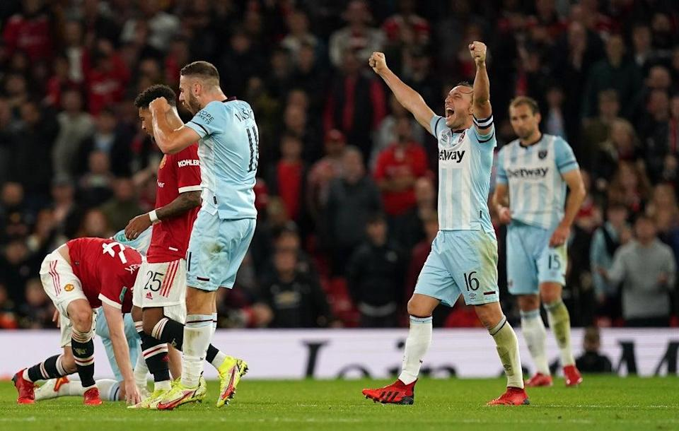 West Ham celebrated a memorable win at Old Trafford (Martin Rickett/PA) (PA Wire)