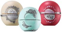 """<p>These cult favorites come with jeweled stickers. The flavors are Sweet Mint, Pomegranate Raspberry, and Limited Edition Vanilla Bean. <b><a href=""""http://evolutionofsmooth.com/2015-holiday-decorative-collection.html"""" rel=""""nofollow noopener"""" target=""""_blank"""" data-ylk=""""slk:Eos Holiday Lip Balm Collection"""" class=""""link rapid-noclick-resp"""">Eos Holiday Lip Balm Collection</a> ($10)</b></p>"""