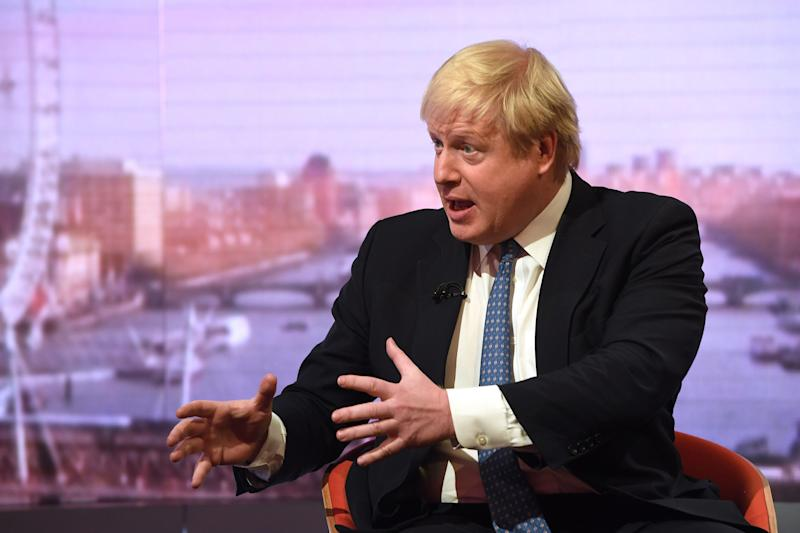 Foreign Secretary Boris Johnson during filming for the BBC One current affairs programme The Andrew Marr Show at New Broadcasting House in London.