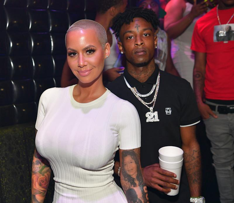 Amber Rose and 21 Savage attend a party hosted by Amber Rose on July 23 in Atlanta, GA. (Prince Williams via Getty Images)