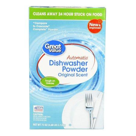 """<p><strong>Great Value</strong></p><p>walmart.com</p><p><strong>$3.87</strong></p><p><a href=""""https://go.redirectingat.com?id=74968X1596630&url=https%3A%2F%2Fwww.walmart.com%2Fip%2F866649026&sref=https%3A%2F%2Fwww.goodhousekeeping.com%2Fhome%2Fcleaning%2Fg32320620%2Fbest-dishwasher-detergents%2F"""" rel=""""nofollow noopener"""" target=""""_blank"""" data-ylk=""""slk:Shop Now"""" class=""""link rapid-noclick-resp"""">Shop Now</a></p><p>If price is a primary concern, Walmart's store brand, Great Value, is just what its name says, a great value. <strong>At just 13 cents per load, </strong>this is an updated version of the formula that was the overall best powder in our last test of dishwasher detergents. It cut through our baked-on grime with ease and left glassware and flatware sparkling, even in the cycles we ran with hard water. </p>"""