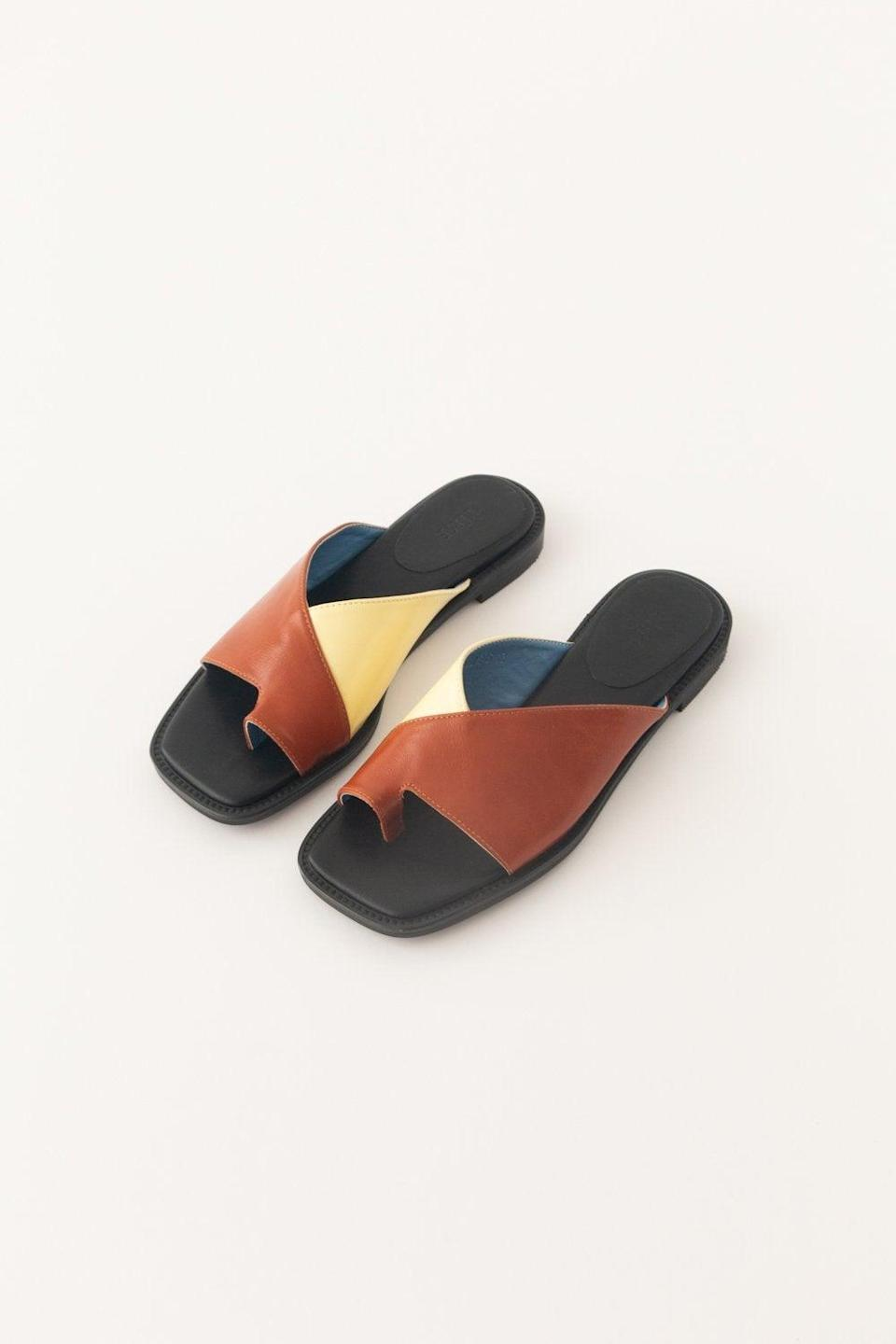 """We suggest pairing these under-$100 color-block sandals with vintage jeans and a white T-shirt. <br> <br> <strong>Pêche</strong> Talia, $, available at <a href=""""https://go.skimresources.com/?id=30283X879131&url=https%3A%2F%2Fshop-peche.com%2Fcollections%2Fshoes%2Fproducts%2Ftalia"""" rel=""""nofollow noopener"""" target=""""_blank"""" data-ylk=""""slk:Pêche"""" class=""""link rapid-noclick-resp"""">Pêche</a>"""