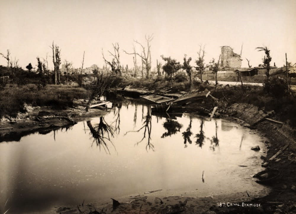 The canal at Diksmuide in Belgium, photographed soon after the end of World War One, circa March 1919. This image is from a series documenting the damage and devastation that was caused to towns and villages along the Western Front in France and Belgium during the First World War. (Photo by Popperfoto/Getty Images)