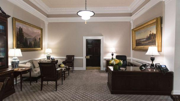 PHOTO: The newly renovated West Wing Lobby of the White House is seen in Washington, Tuesday, Aug. 22, 2017, during a media tour. The new carpeting features a floral medallion inspired by the White House architecture and the Rose Garden. (AP Photo/Carolyn Kaster)
