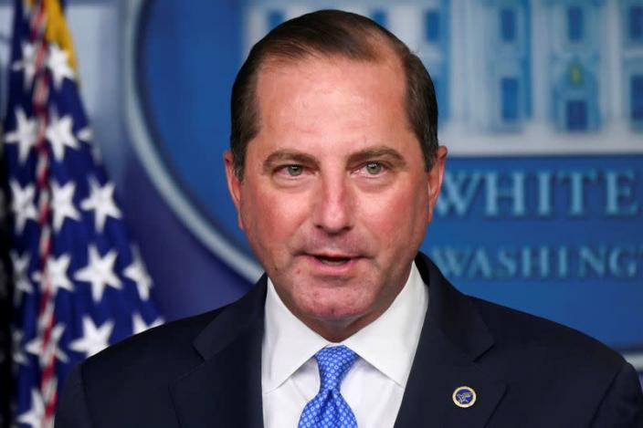 U.S. Health and Human Services (HHS) Secretary Alex Azar speaks during a news conference in the Brady Press Briefing Room of the White House in Washington
