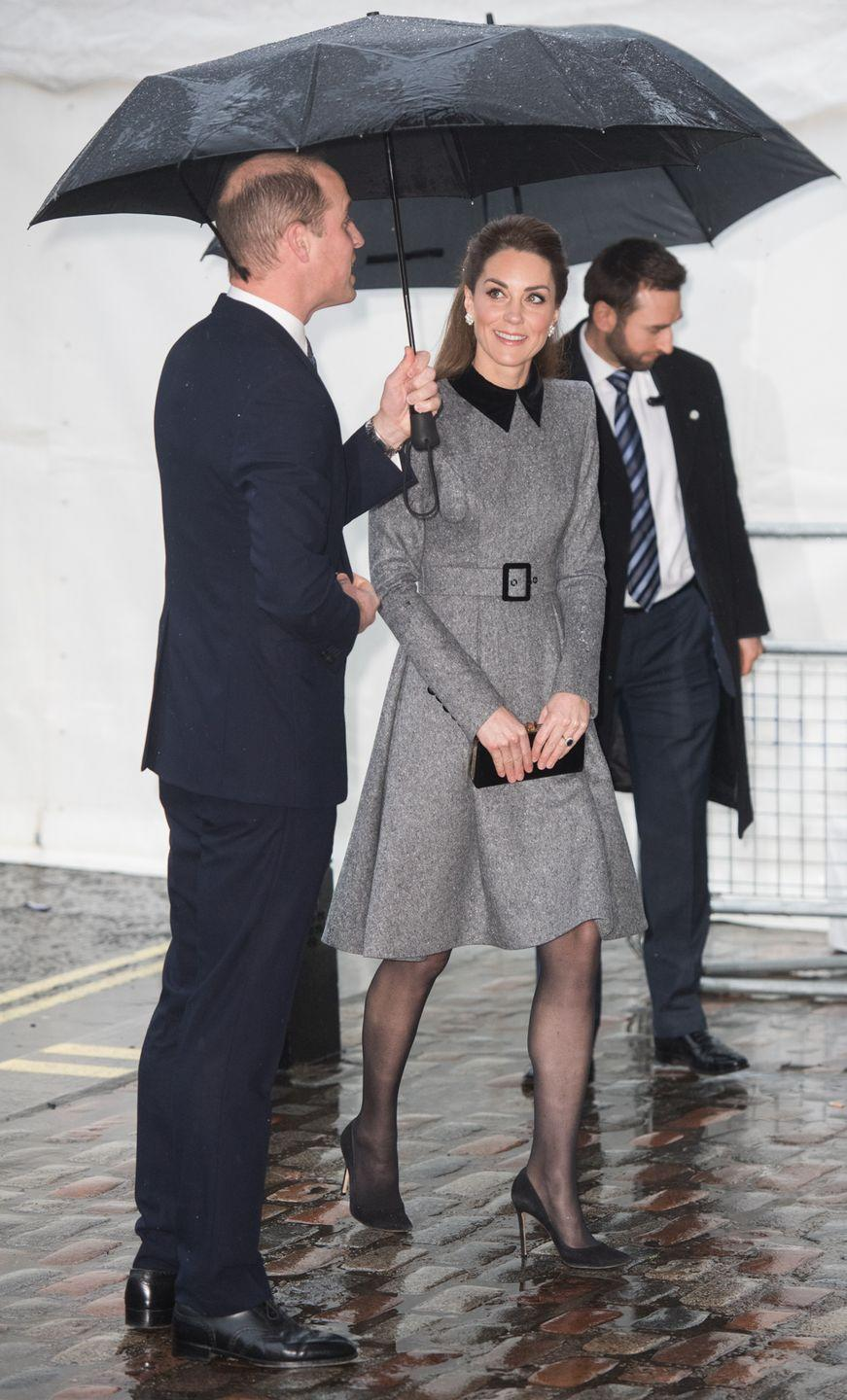 <p>The Duchess of Cambridge attends the UK Holocaust Memorial Day Commemorative Ceremony in Westminster. She wore a gray coat dress by Catherine Walker. </p>