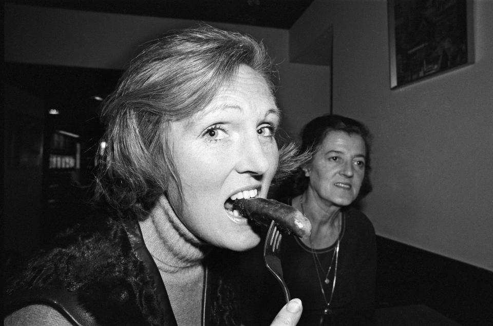 Sausage tasting panel at Marine Ices, Camden Town. Mrs Rita Peduzz (Housewife) and Mary Berry (TV cooking expert.) 24th September 1975. (Photo by Daily Mirror/Mirrorpix/Mirrorpix via Getty Images)