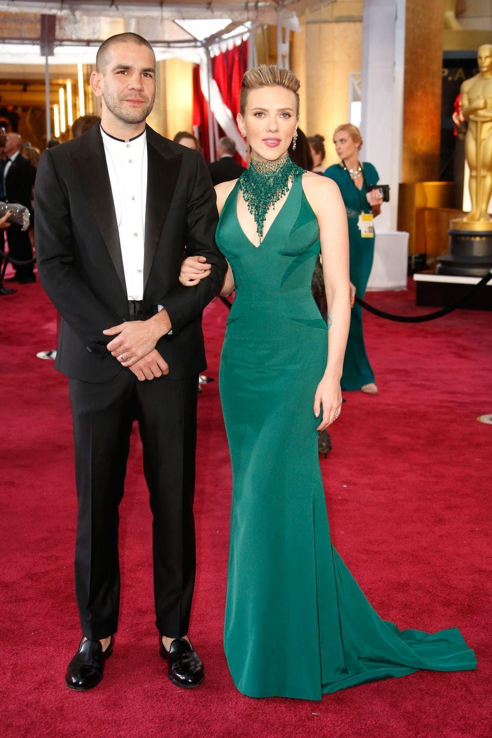 <p>Scarlett Johansson married French journalist, Romain Dauriac, in 2014, and that same year welcomed daughter Rose Dorothy Dauriac. The couple were married for three years before divorcing in 2017. Johansson is currently engaged to comedian Colin Jost. </p>