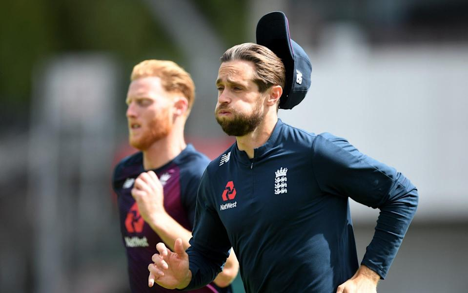 Chris Woakes of England warms up during a England Nets Session at Emirates Old Trafford on August 03, 2020 - Gareth Copley/Getty Images