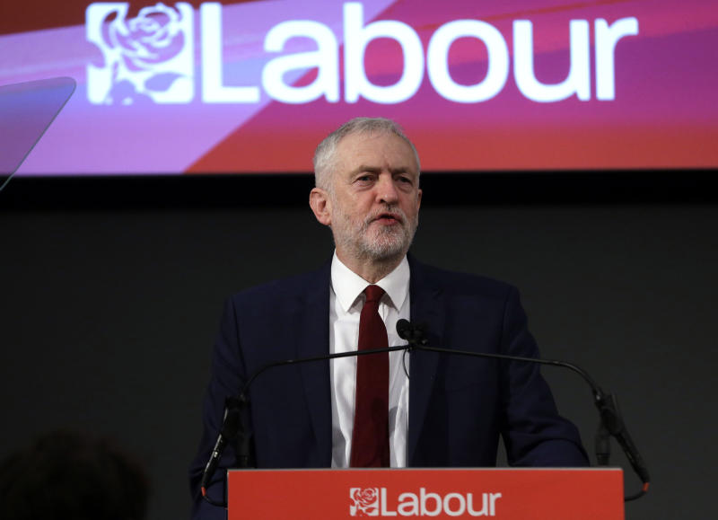 """FILE - In this file photo dated Friday, Feb. 24, 2017, leader of Britain's opposition Labour Party Jeremy Corbyn delivers a speech in London.  Britain's Labour Party said Tuesday Nov. 12, 2019,  it has experienced a """"sophisticated and large scale cyberattack"""" on its digital platforms, also stating that the attack was not successful and the party is confident that no data breach occurred. (AP Photo/Alastair Grant, FILE)"""