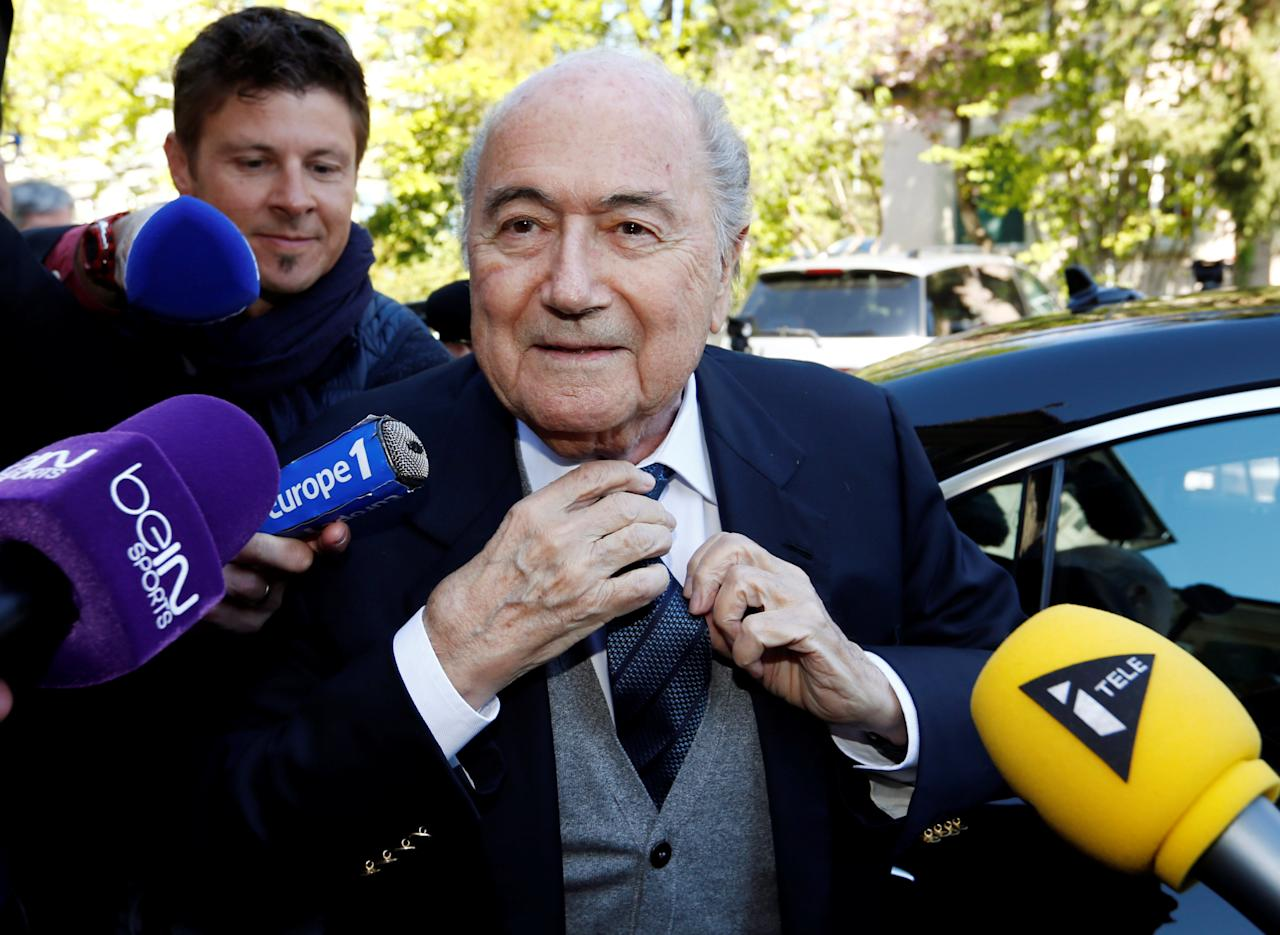 Former FIFA President Sepp Blatter arrives at the Court of Arbitration for Sport (CAS), where he was cited as a witness in an appeal by UEFA President Michel Platini against FIFA's ethics committee's ban, in Lausanne, Switzerland April 29, 2016. REUTERS/Denis Balibouse     TPX IMAGES OF THE DAY