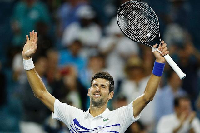 World number one Novak Djokovic celebrates a third-round win over Federico Delbonis of Argentina at the WTA and ATP Miami Open (AFP Photo/Michael Reaves)