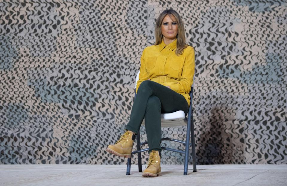 Melania Trump wears Timberland boots while visiting troops in Iraq. [Photo: Getty Images]
