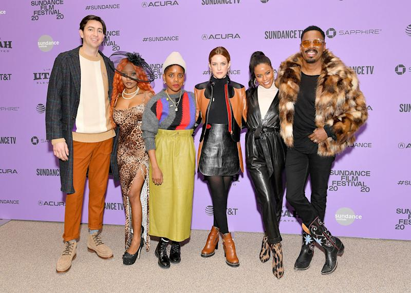 "Nicholas Braun, A'ziah King, Janicza Bravo, Riley Keough, Taylour Paige and Colman Domingo at the ""Zola"" premiere on Jan. 24, 2020, in Park City, Utah. (Photo: Dia Dipasupil via Getty Images)"