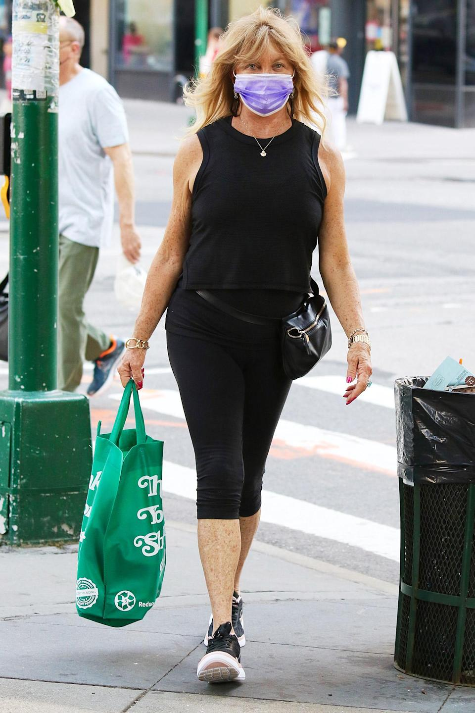 <p>Goldie Hawn carries a reusable shopping bag while out and about in N.Y.C. on June 7. </p>